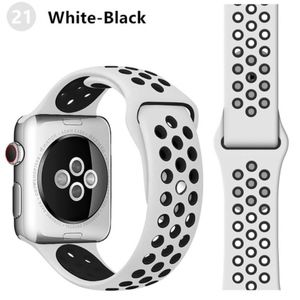 NEW WHITE-BK Sport Silicone Band FOR Apple Watch